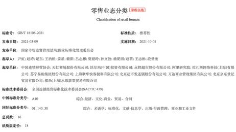 我校参与制定中华人民共和国国家标准《零售业态分类》